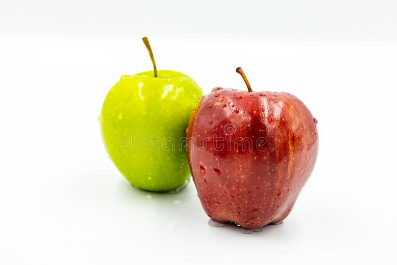 Red apples and green apples stock images