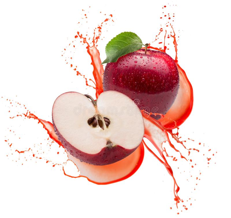 Red apples in juice splash isolated on a white background.  stock image