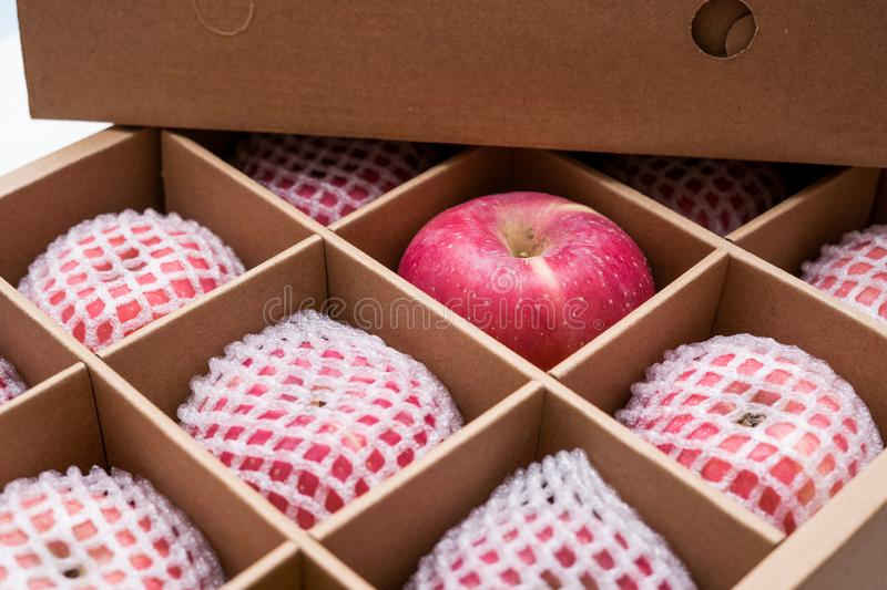 Red apples in paper box royalty free stock image