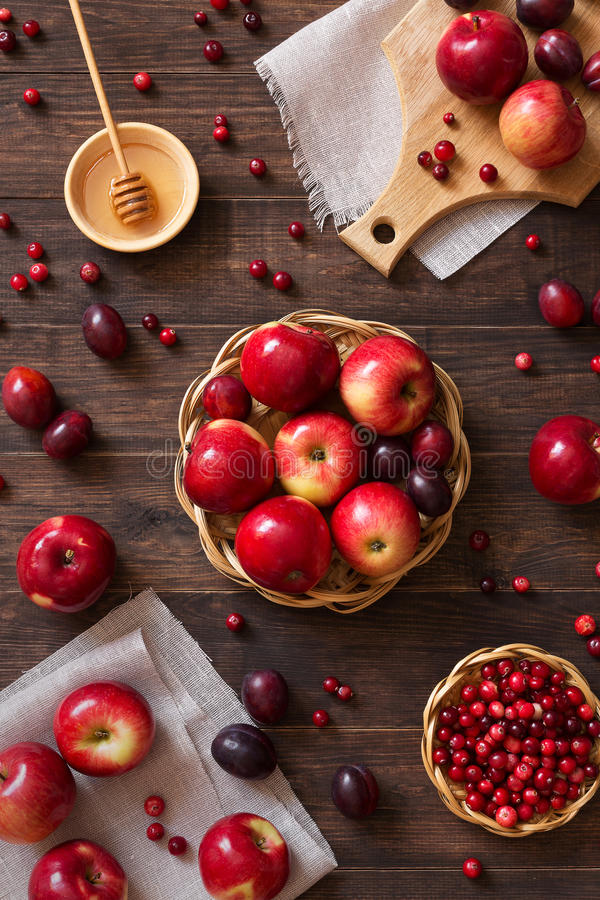 Red apples with plums and cranberries stock photography