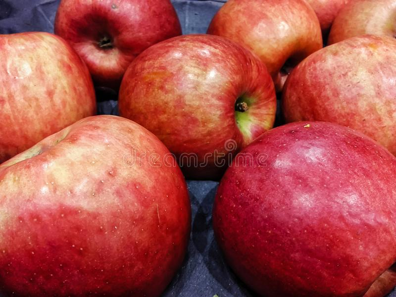 Red apples for sale. At market store royalty free stock photography
