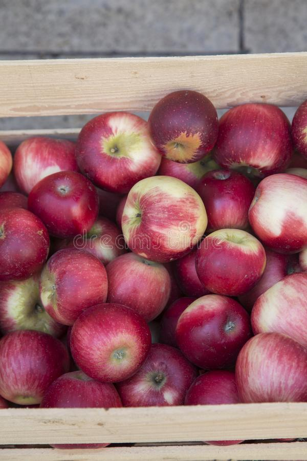 Red Apples for Sale on Market Stall; Bordeaux. France stock photography