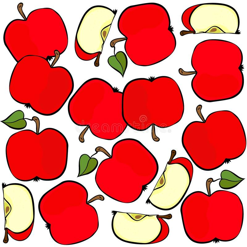 Red apples on white fruit seamless pattern vector illustration