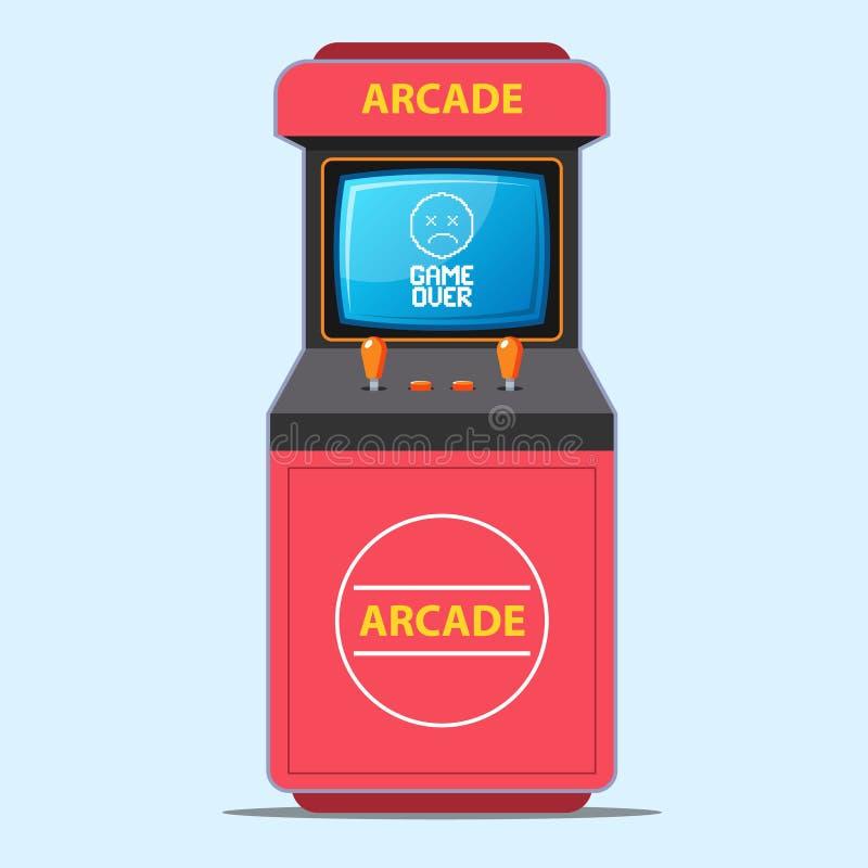 Red arcade game-machine game over scherm ondertiteling stock illustratie