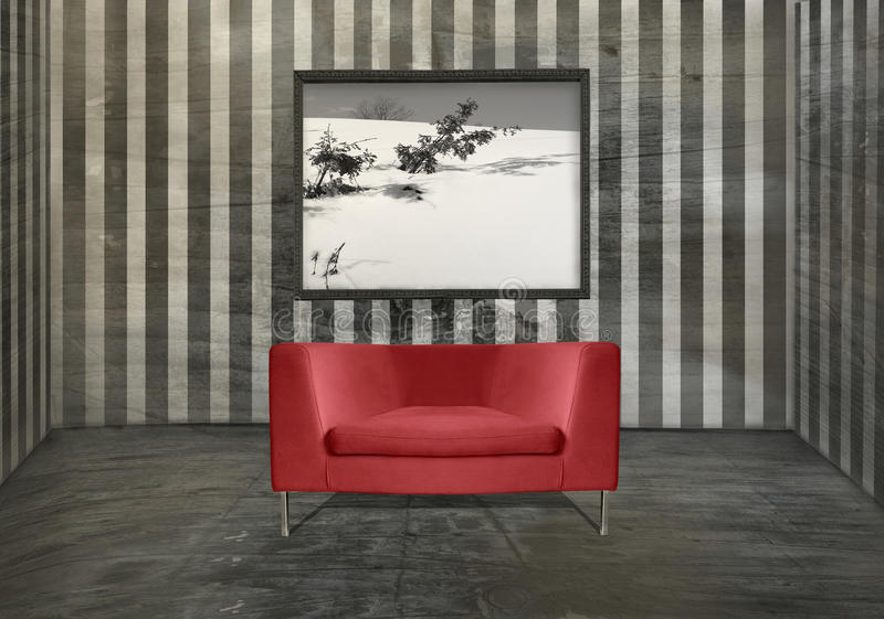 Red armchair interior vector illustration