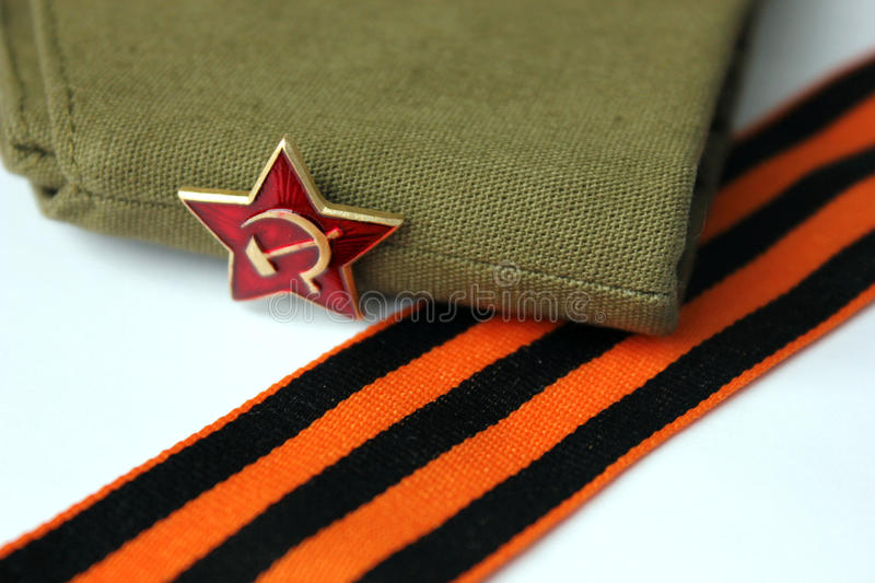 Red Army man's garrison cap stock images