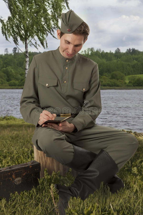 Royalty Free Soldier Writing A Letter Photo