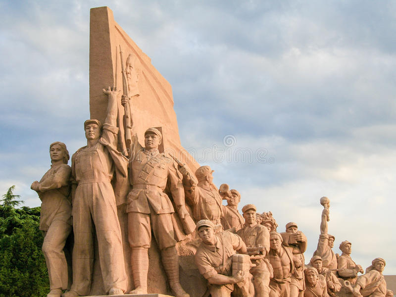 Red army statues. At Mao& x27;s Mausoleum on Tiananmen Square, Beijing, China royalty free stock photos