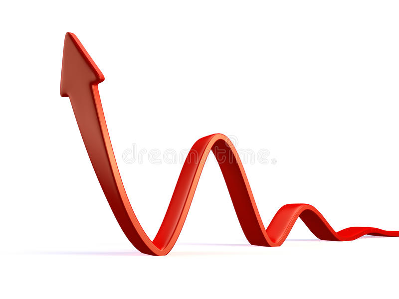 Red arrow. 3d red arrow in business graph vector illustration