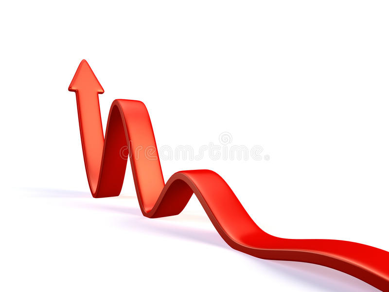 Red arrow. 3d red arrow in business graph stock illustration