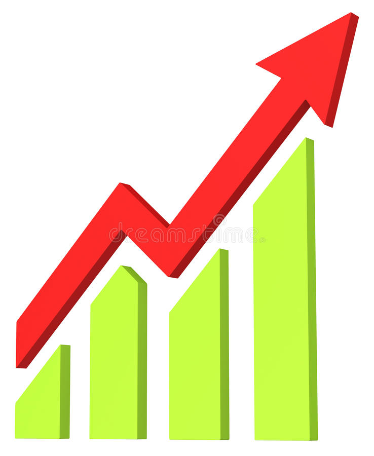 Red arrow and bar chart moves up stock illustration