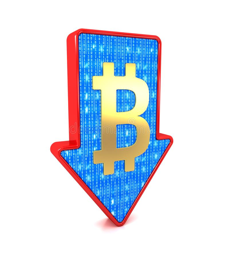 Red arrow and Bitcoin cryptocurrency symbol. Recession concept. stock illustration