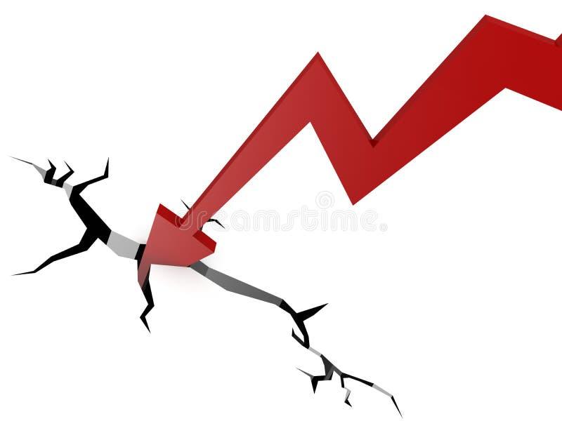 Red arrow into break ground. 3D rendering stock illustration