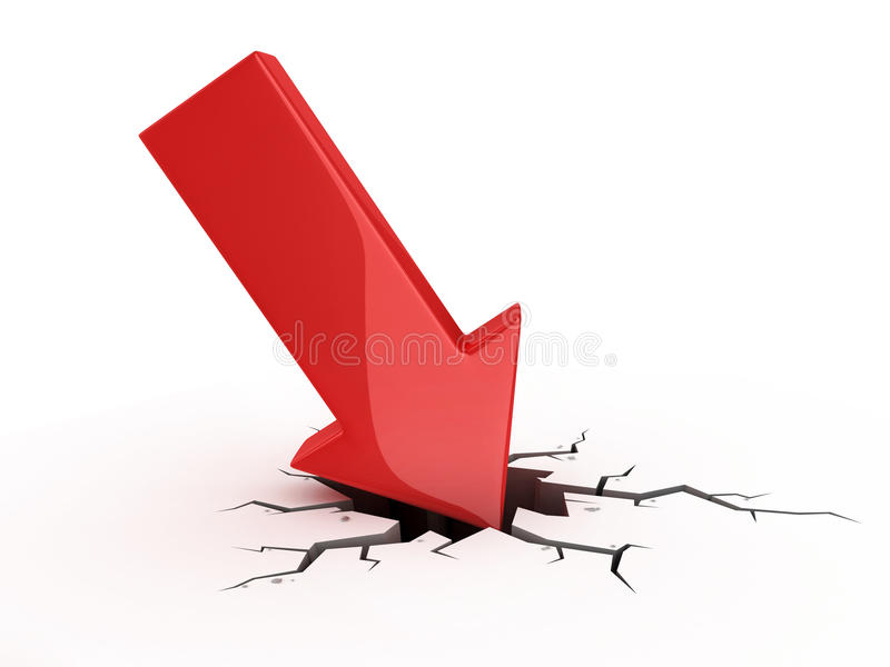 Red Arrow Crash Royalty Free Stock Image