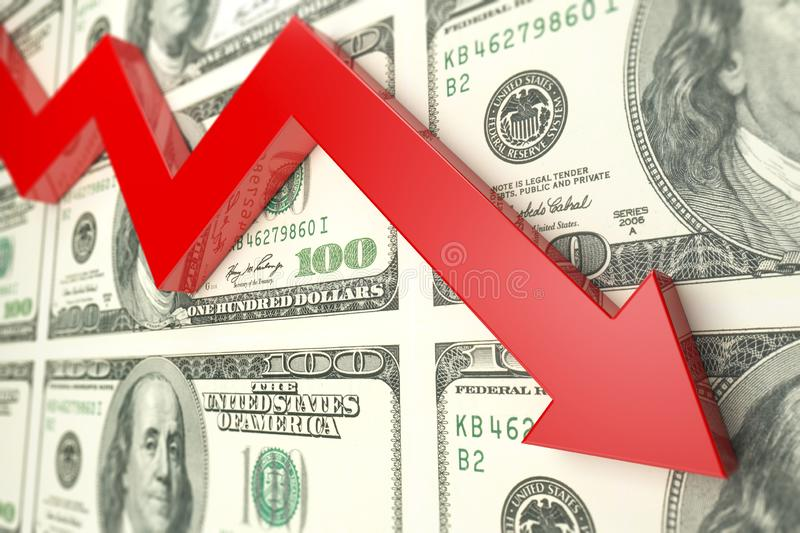 Red arrow on dollar banknote. 3d render royalty free stock photos