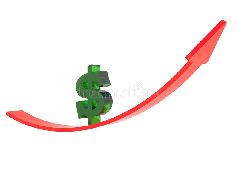 Red arrow and dollar sign up stock illustration