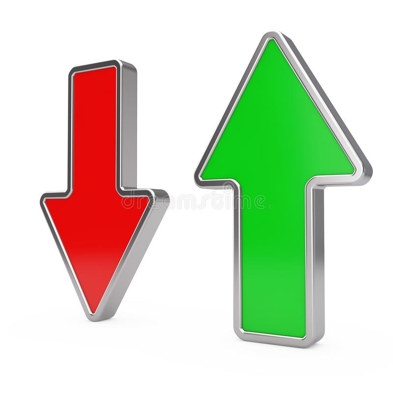 Red Arrow Down and Green Arrow Up. 3d Rendering stock illustration