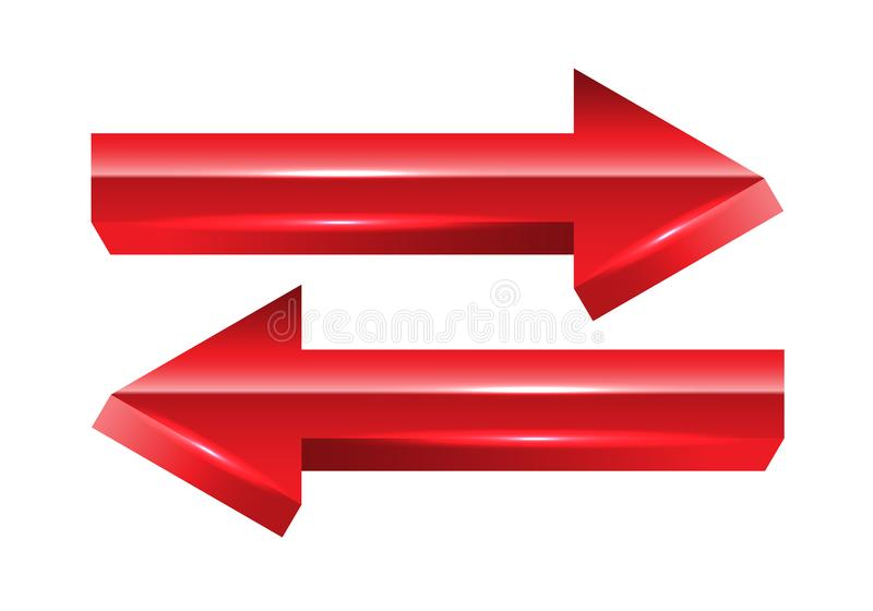 Red arrow exchange direction 3D on white background vector vector illustration