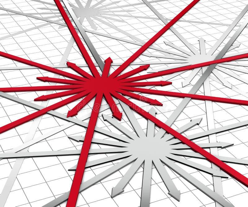 Red arrow expansion. 3d illustration render, red arrow expansion vector illustration