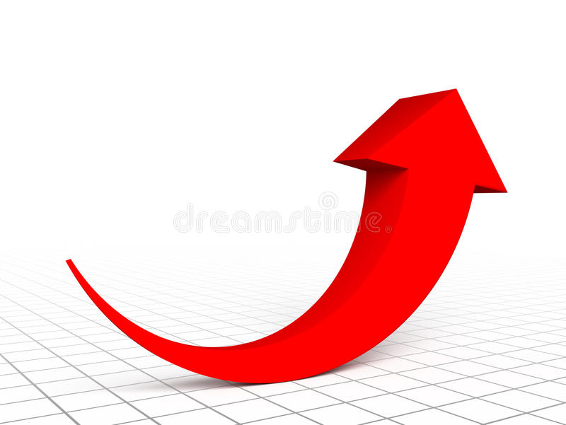 Red arrow graph. Growth up royalty free illustration