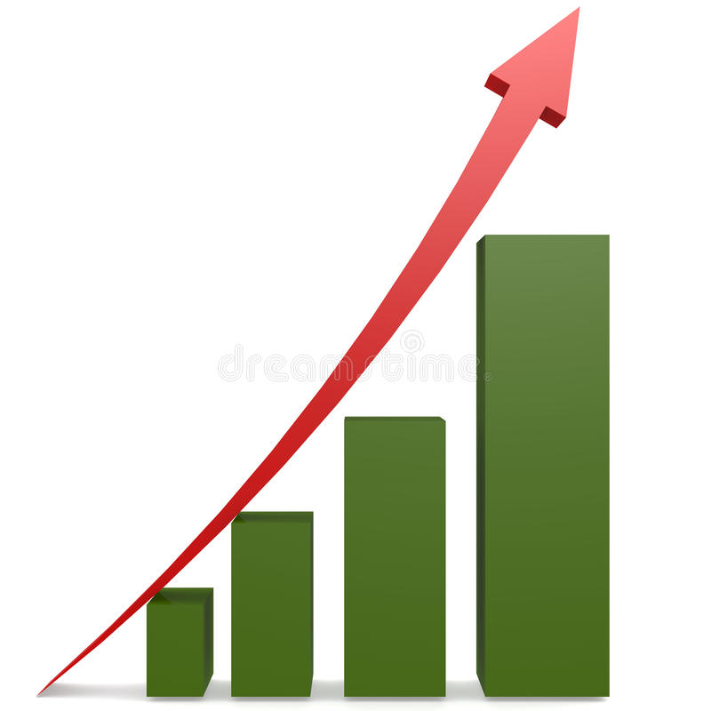 Red arrow and green bar chart royalty free illustration