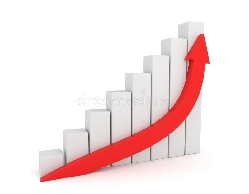 Red Arrow Growth Diagram. 3D render illustration - Red Arrow Growth Diagram royalty free illustration