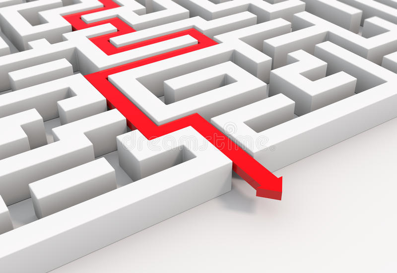 Download Red Arrow Leads Through A Maze Stock Illustration - Illustration of difficult, complicated: 39504833