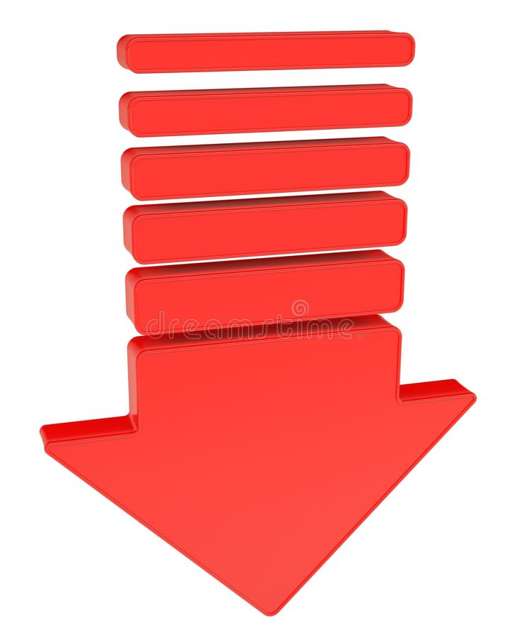 Download A red arrow pointing down stock illustration. Image of block - 28606975