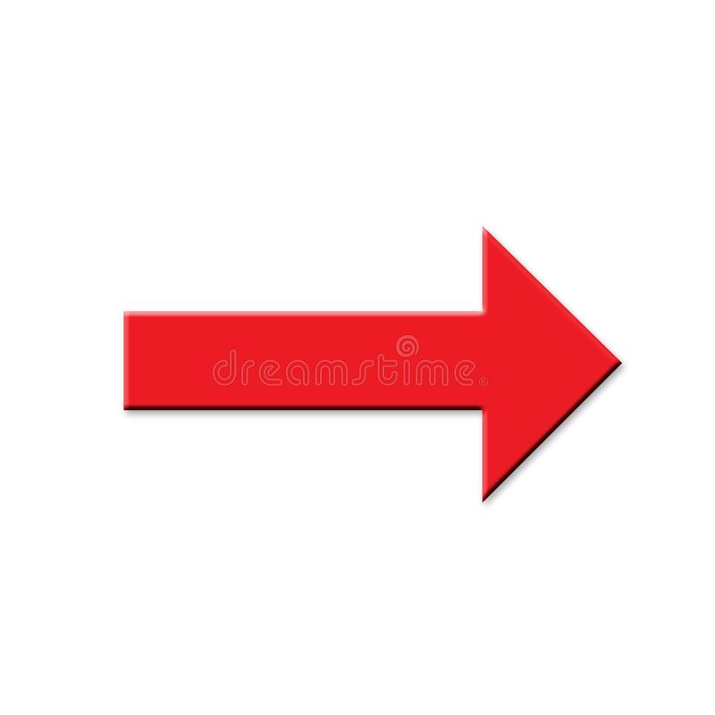 Red arrow on white background vector illustration