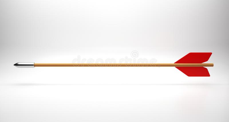 Red arrow on white. 3d render royalty free stock photography