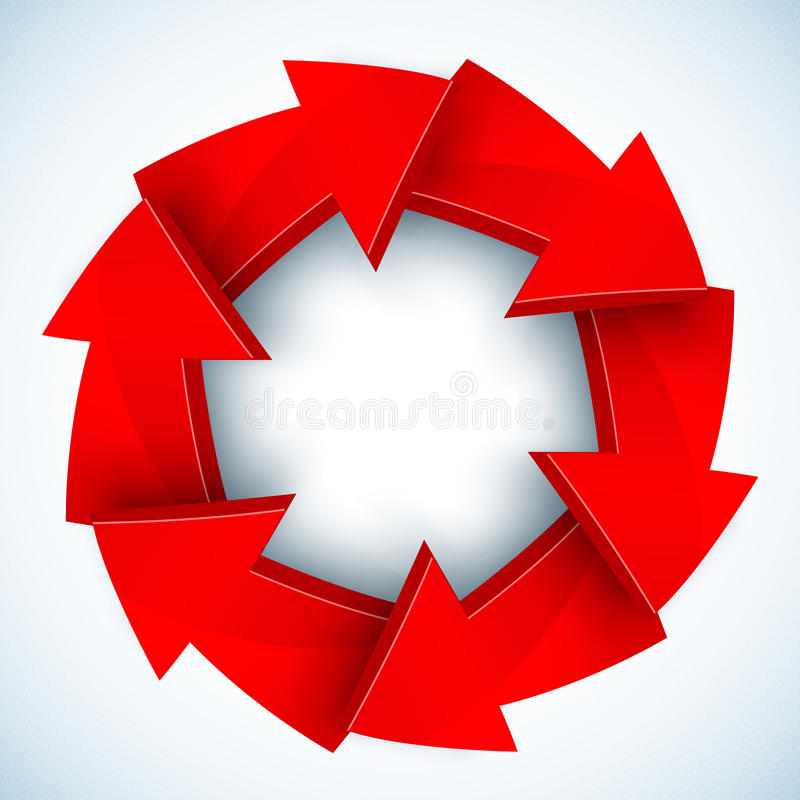 Red arrows closed vector circle vector illustration