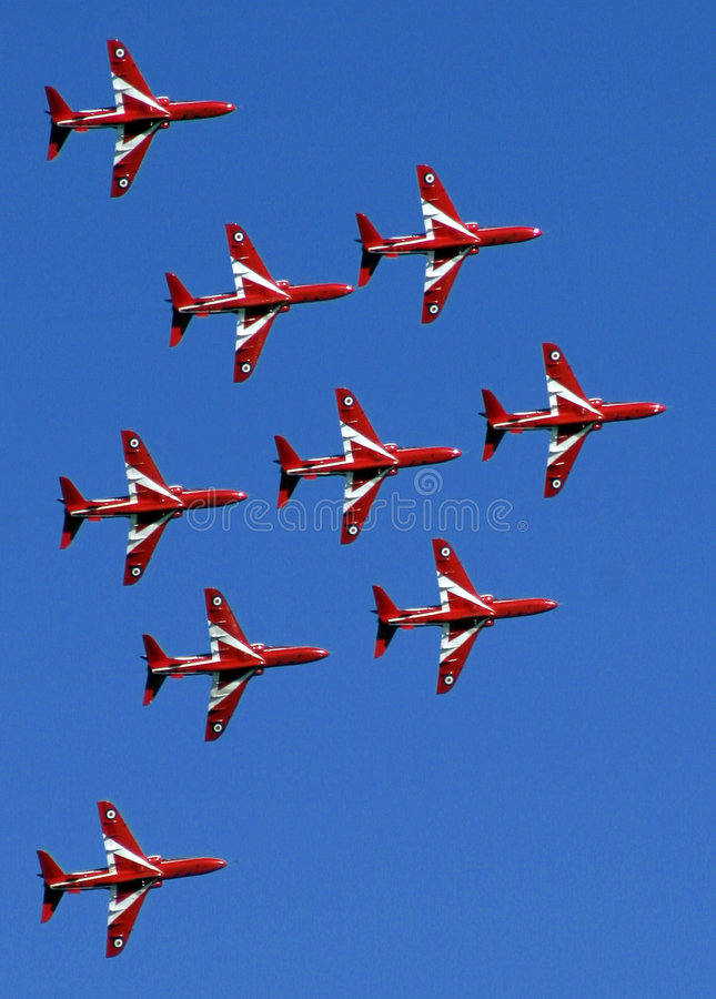 Download Red Arrows display team 03 stock image. Image of expertise - 8489861