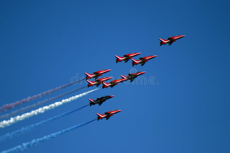 Download Red Arrows display team 04 stock image. Image of expertise - 8490279