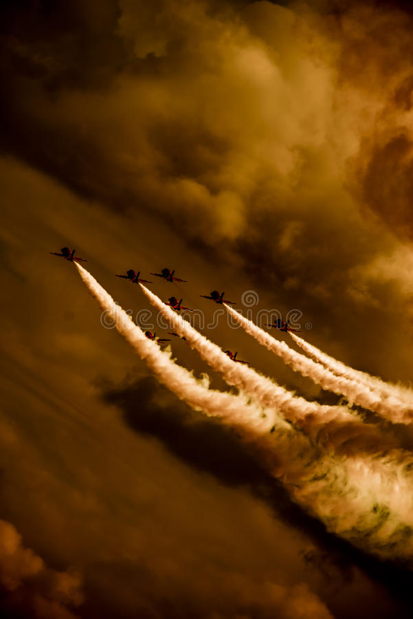 Download Red arrows display team stock photo. Image of smoke, flying - 31692532