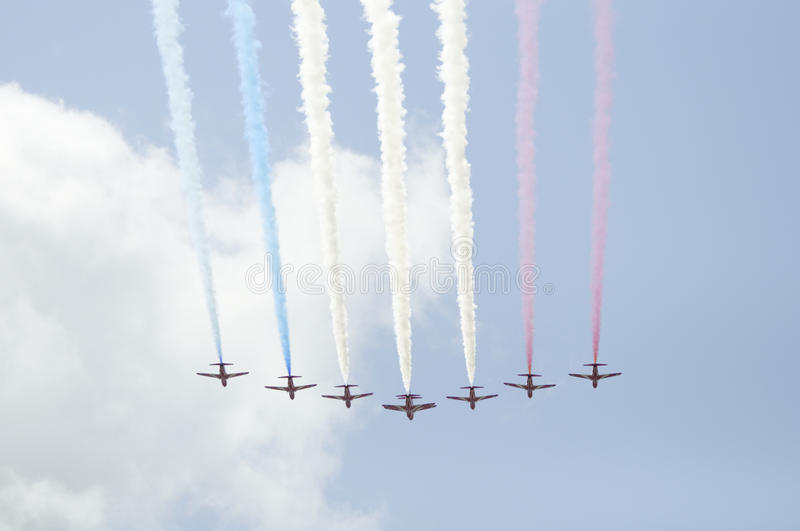 Download The Red Arrows flypast stock image. Image of celebration - 25320547
