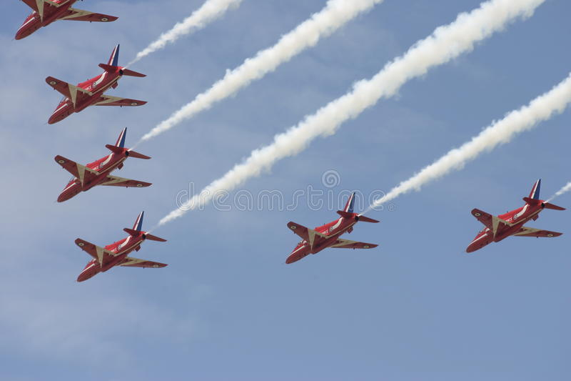 The Red Arrows RAF aerobatic team. Royal Air Force Flying Hawk fast-jets, the Red Arrows represent the UK and showcase the excellence of the RAF Flying Hawk royalty free stock image