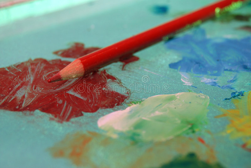 Red artist pencil royalty free stock photo