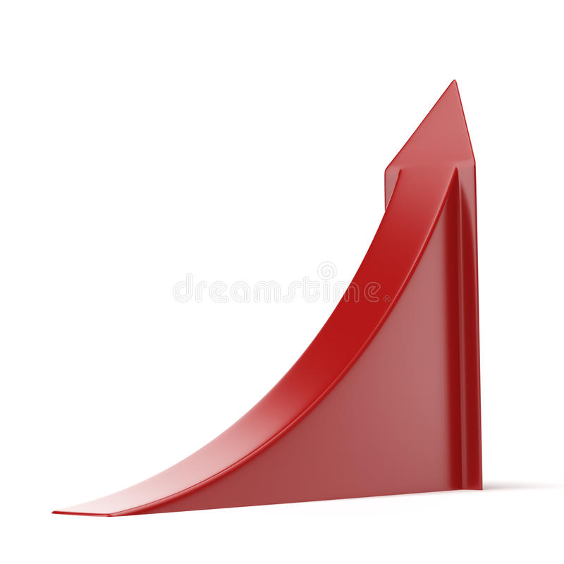 Red ascending arrow. Isolated on a white background. 3d render vector illustration