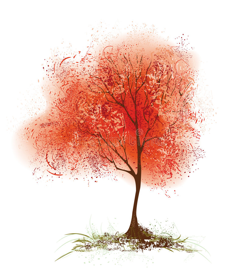 Red aspen. Red stylized aspen with a foliage to the drawn grunge texture stock illustration
