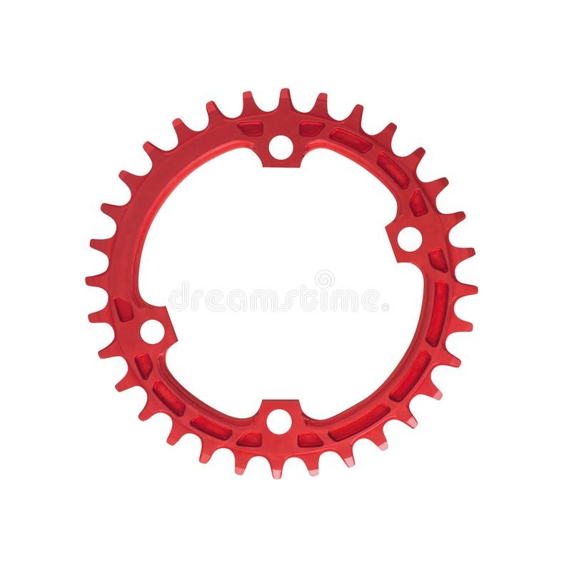 Red assymetric chainring component for bikes. Isolated on white background stock photography