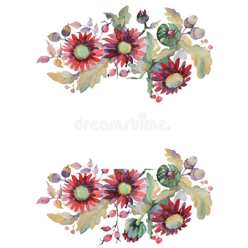 Free Red Aster And Acorn Bouquet Botanical Flowers. Watercolor Background Illustration Set. Frame Border Ornament Square. Royalty Free Stock Images - 144365939