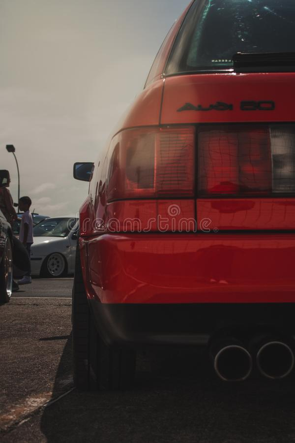 Red Audi 50 Car Closeup Photography stock photography