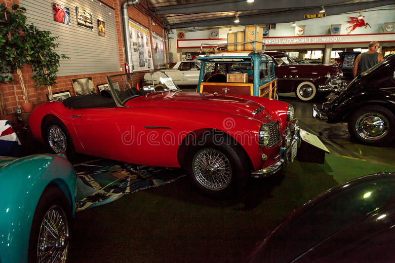 Red 1959 Austin Healey 300 Roadster. El Segundo, CA, USA - September 26, 2016: Red 1959 Austin Healey 300 Roadster displayed at the Automobile Driving Museum in stock photography