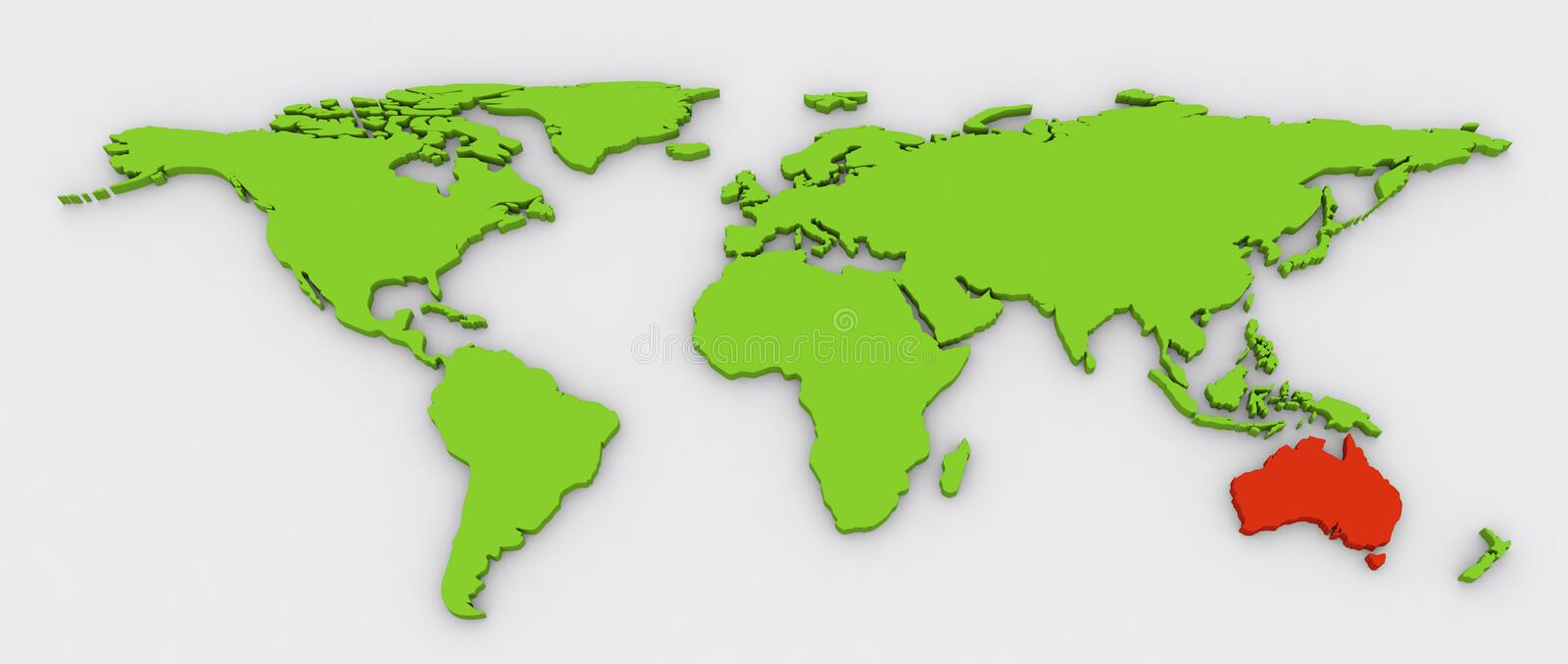 Red Australian continent highlighted on green world map. Red Australian continent highlighted on green color extruded flat world map with shadow on a grey stock illustration