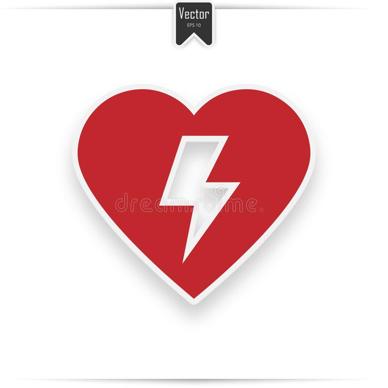 Red Automated External Defibrillator Aed Stock Vector