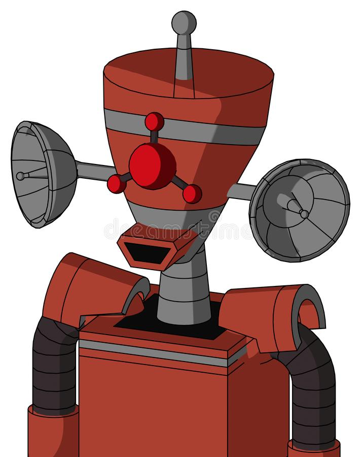 Red Automaton With Vase Head And Happy Mouth And Cyclops Compound Eyes And Single Antenna. Portrait style Red Automaton With Vase Head And Happy Mouth And stock illustration