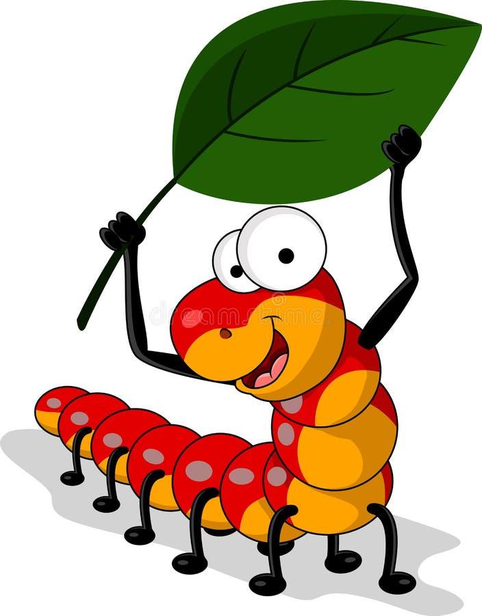 Red avmaskar tecknad film med leafen royaltyfri illustrationer