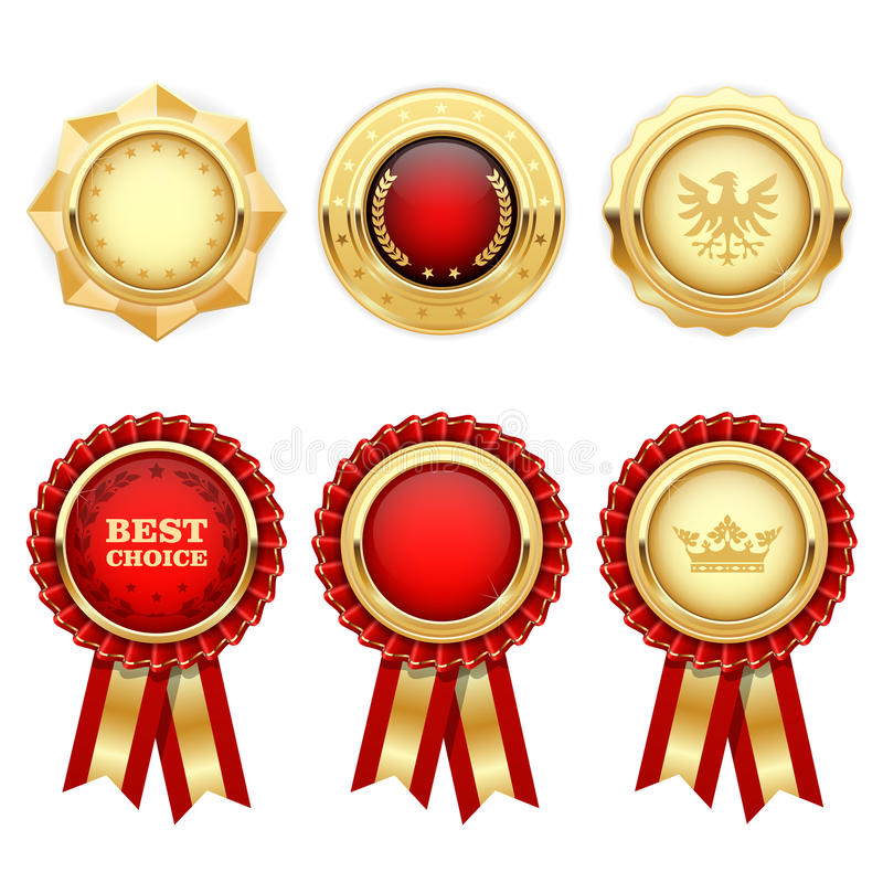 Red award rosettes and gold heraldic medals royalty free illustration