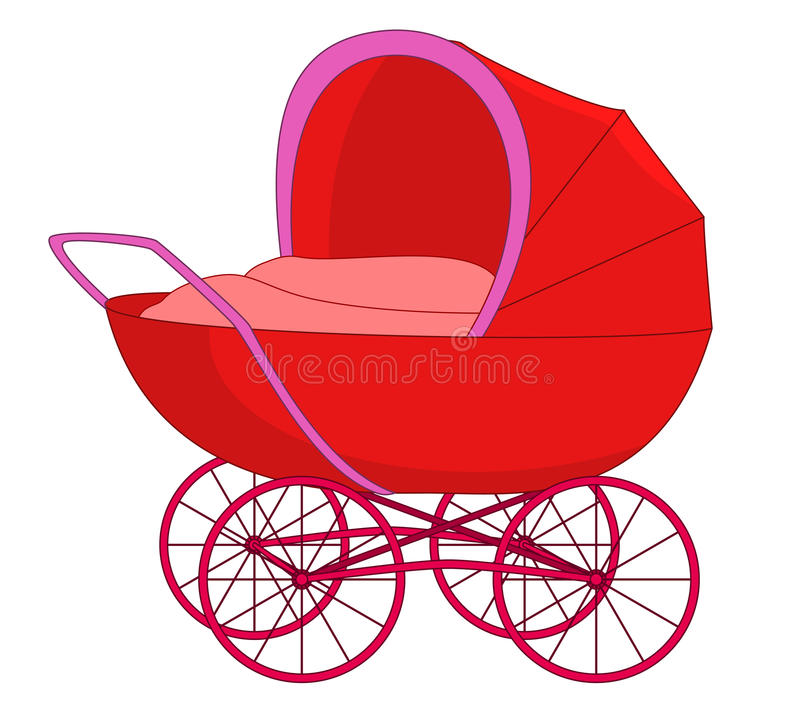 Download Red baby carriage stock vector. Image of motherhood, bedding - 14937195