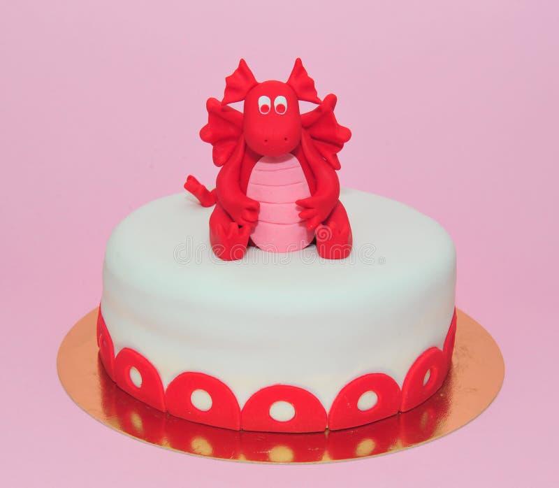 Red Baby Dragon Girl Birthday Cake Stock Image Image of home